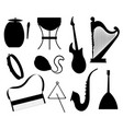 set various musical instruments tambourine drums vector image