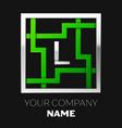 silver letter l logo symbol in the square maze vector image
