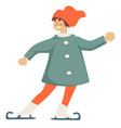 smiling child figure skating on ice rink vector image
