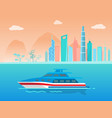 speed yacht on water surface near coast of city vector image