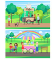 street food posters colorful vector image vector image