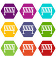 traffic barrier icon set color hexahedron vector image vector image