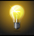 Transparent realistic glowing light bulb on vector image