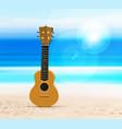 ukulele on beach against background of vector image