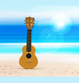 ukulele on beach against background vector image vector image