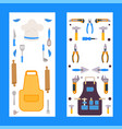 vertical banners with isolated icons kitchen vector image