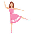 woman in pink dress balancing on one leg isolated vector image