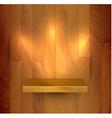 wooden empty realistic bookshelf vector image