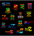 z letter trendy shape corporate identity icons vector image vector image