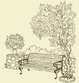 bench under blooming lilac bush vector image