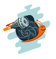business metaphor flying snail with rocket vector image