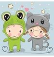 Cute Cartoon boy and girl vector image