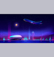 airplane take off from runway at neon night city vector image vector image