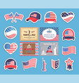 american independence day stickers with flag set vector image