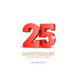 anniversary 25 red 3d numbers vector image vector image
