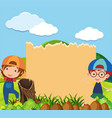 banner template with two boys in park vector image vector image