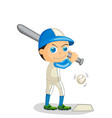 baseball player kid boy hit the vector image