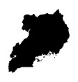 black silhouette country borders map of uganda on vector image vector image