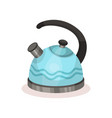 blue metal tea kettle with black handle vessel vector image