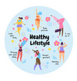 body positive overweight girls healthy lifestyle vector image vector image