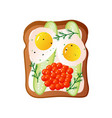 bread sandwich with two fried eggs and red caviar vector image vector image
