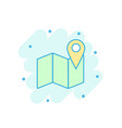 cartoon colored map pin icon in comic style vector image vector image