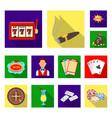 casino and gambling flat icons in set collection vector image vector image