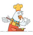 chicken chef cooking soup vector image