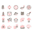 chinese color linear icons set traditional vector image