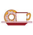 coffee cup and donut on dish in color sections vector image