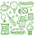 collection stock of food doodle set vector image vector image
