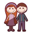 color silhouette shading cartoon couple in suit vector image vector image