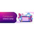 computer programming camp concept banner header vector image vector image