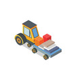 construction machine with loaded bricks and boxes vector image vector image