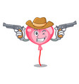 cowboy ballon heart character cartoon vector image