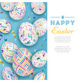 Easter background with 3d ornate eggs on blue with