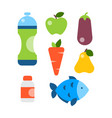 flat icons set of fitness sport and healthy vector image vector image