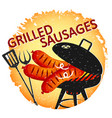 fried sausages on grill vector image vector image