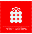 Gift box made from buttons Christmas vector image vector image
