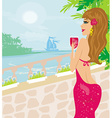 girl on vacation drinking a red wine vector image vector image