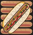 grilled hot dogs vector image