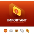 Important icon in different style vector image vector image