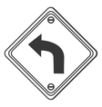 left curve ahead traffic sign icon vector image vector image