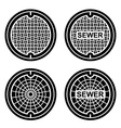 manhole sewer cover black symbol vector image vector image