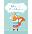 Merry Christmas squirrel background vector image vector image