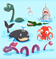 Monsters Of The Deep Blue Sea Collection Set vector image vector image