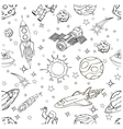 outer space doodles symbols and design elements vector image
