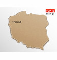 poland map on craft paper texture template vector image