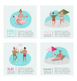 pool party poster set banner people swimming vector image vector image