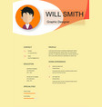 resume template cv creative background ima vector image vector image